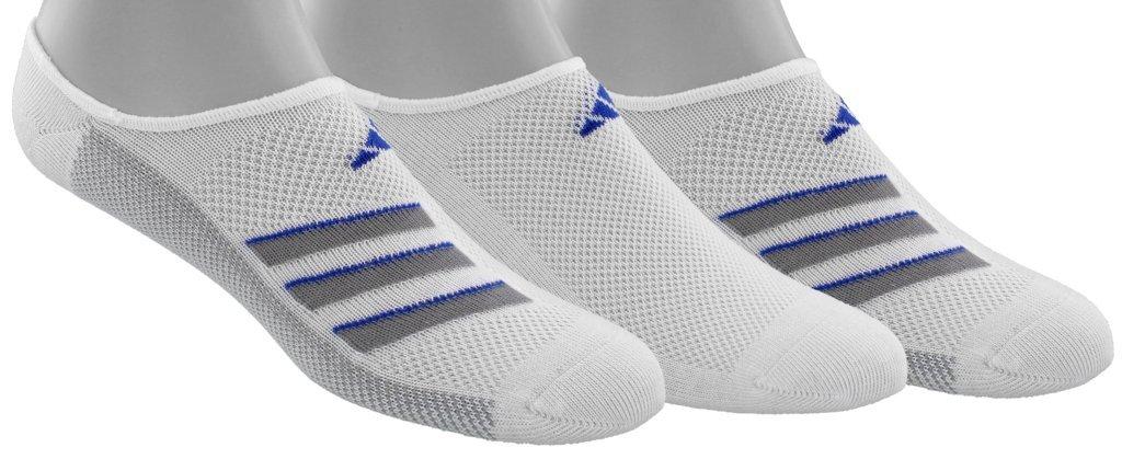 adidas Men's Climacool Superlite Super No Show Socks (3-Pack), White/Onix/Blue, Size 6-12