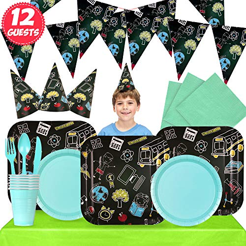 Partybus Party Supplies Set - Serves 12, 106 Ct, School Graduation Theme Party Disposable Tableware Kit for Boys Girls Kids Birthday Decorations, Includes Banner, Dinner Plates, Dessert Plates, Napkins, Cups, Table Cloth, Silverware, Hats