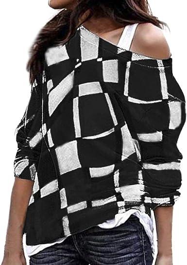 Blusa Mujer, BaZhaHei Blusas Camisetas de Gasa Ropa de Mujer Suéter Jersey Camisas Manga Ajustable Blusas Pullover Tops Suelta Camisa Mujer Raya Cuello Redondo Manga Larga Casual Suelto Blusa de mujer: Amazon.es: