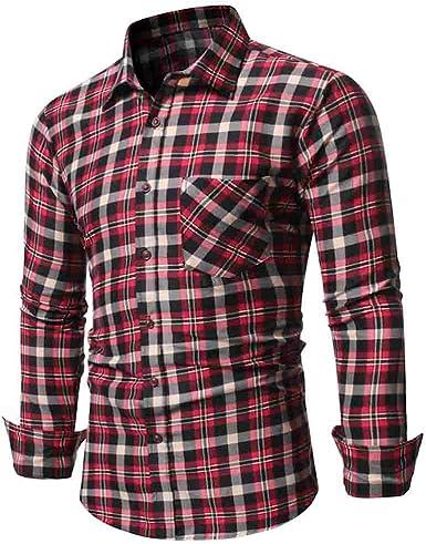 Heetey - Camisa de Manga Larga para Hombre, diseño de Cuadros: Amazon.es: Ropa y accesorios