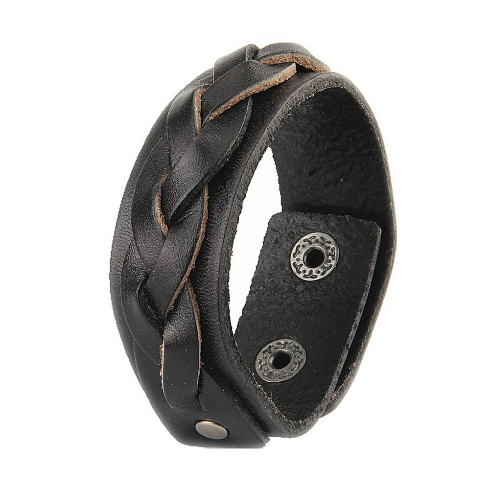 Jenia Handmade Woven Genuine Leather Bracleet Simple Men Women Casual Thin Bangle Cuff Adjustable