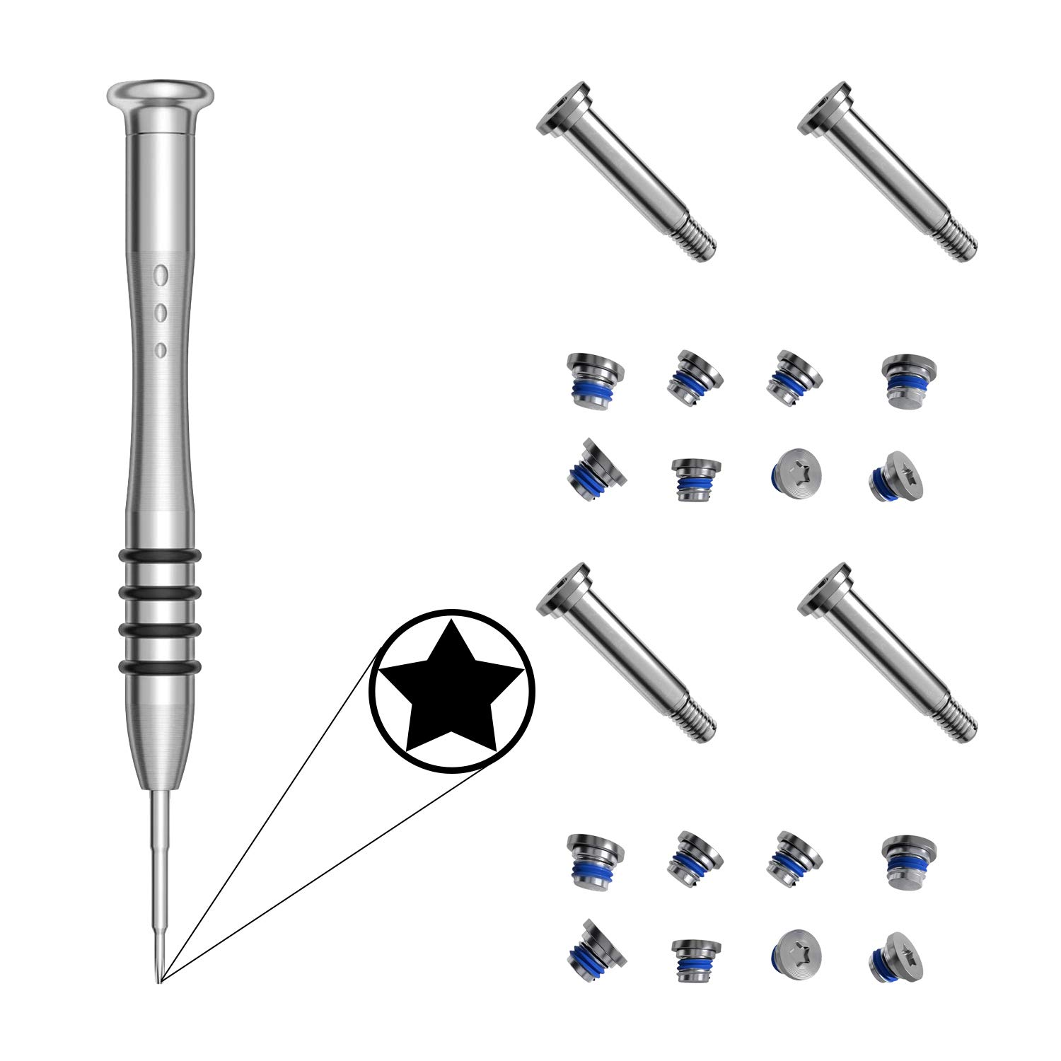 LIANG 2 Sets Replacement Screws with Screwdriver for MacBook Air 13 inch A1369 A1466 2010 to 2017, Unibody Bottom Case Cover P5 Pentalobe Repair Replacement Tool Kit Notebook Laptop PC Computer Screw