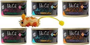 Tiki Cat After Dark Grain Free Cat Food 3 Flavor Variety 6 Can with Toy Bundle, 2 Each: Chicken & Pork, Chicken with Liver Gizzards & Heart, Chicken & Duck (2.8 Ounces)