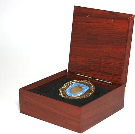 Caja para monedas, de madera de palisandro auténtica. Medidas: 92 mm x 35 mm. Caja de