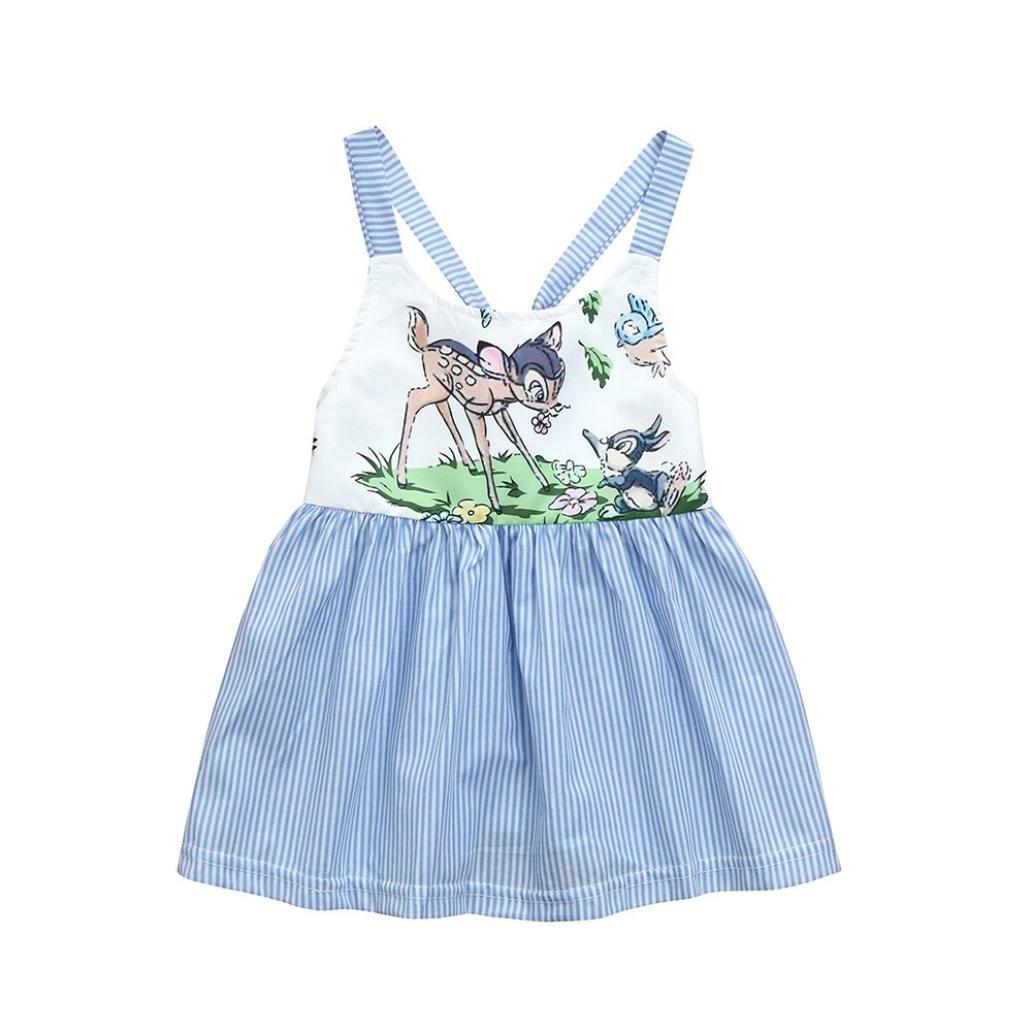 Girls Dress For 0-24 Months,Internet Newborn Toddler Infant Baby Girls Dress Cartoon Deer Print Striped Strap Dresses Outfits Rabbit Ear Heart Strap Casual Dress Clothes (0-6months, Blue) Internet_8810