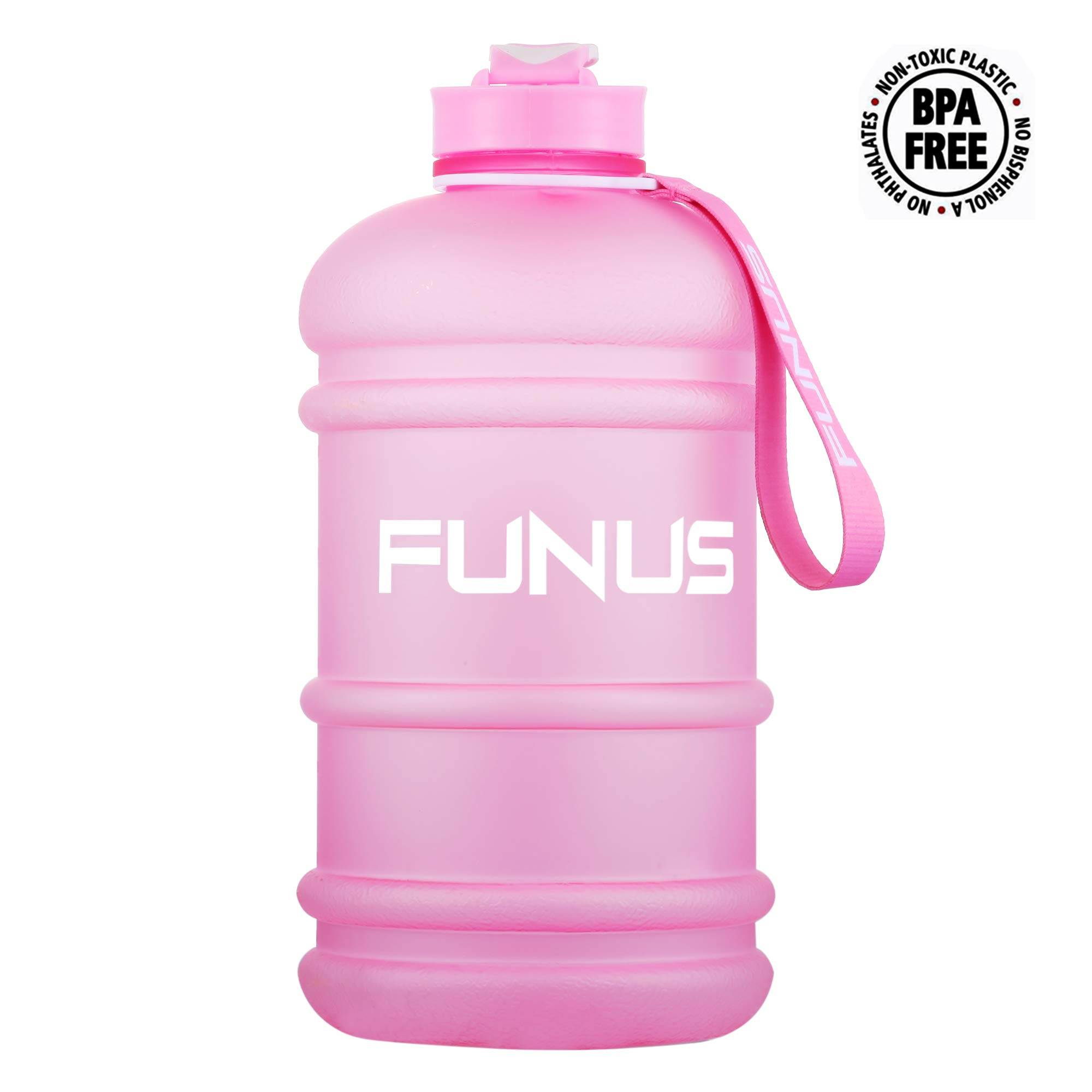 FUNUS Big Water Bottle 1.3L-2.2L Large Water Bottle BPA Free Leak Proof Reusable Odorless Big Capacity Water Jug for Men Women Fitness Gym Outdoor Climbing Gym Water Bottle (2.2L Frosted Blush) by FUNUS