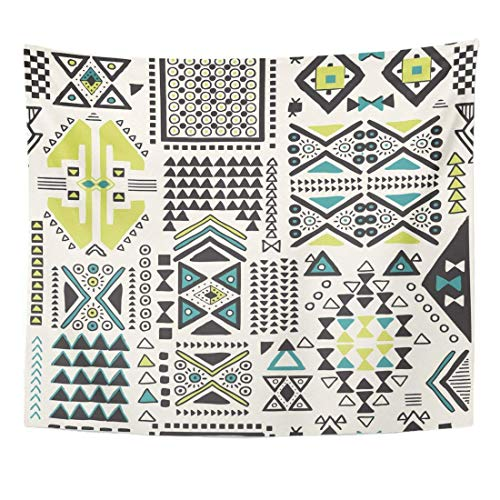 Seenpin Tapestry Blue Geo Tribal Ethnic Pattern with Geometric in Green Shape Home Decor Wall Hanging for Living Room Bedroom Dorm 50x60 Inches