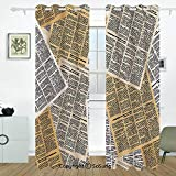 Old Newspaper Decor Grommet Blackout Window,Pages of Old Journals Magazines Columns Information Print Decorative,for Bedroom&Living Room&Patio Sliding Doors,2 Panels Set,108 X 72 Inches,Light Brown Wh