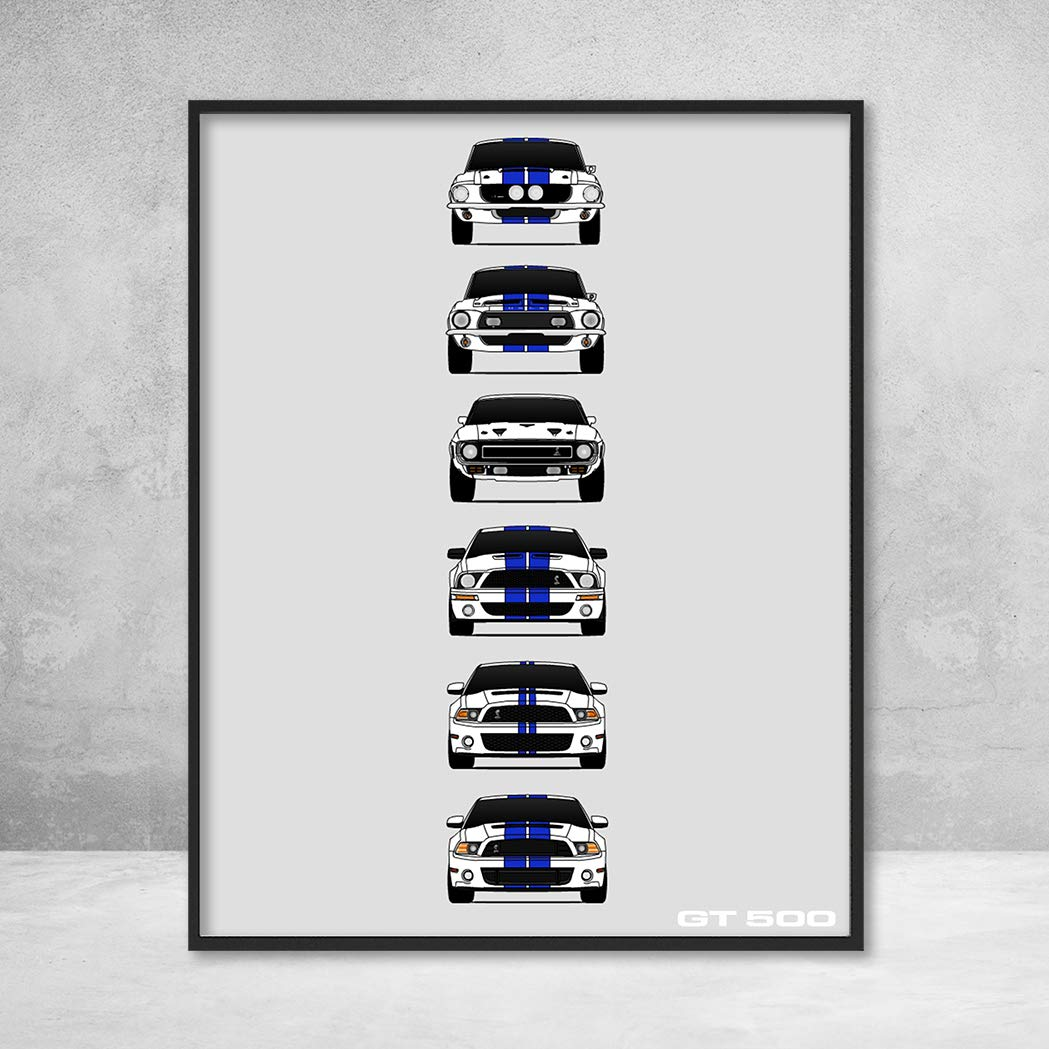 Shelby Mustang GT500 Poster Print Wall Art of the History and Evolution of the Ford Shelby GT500 (White Car, Blue Stripes)