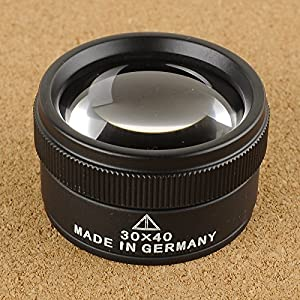 Portable Pocket Reading Magnifier 30X Metal Jewellery Magnifier Magnifying Eye Glass Lens Loupe (30X40MM)