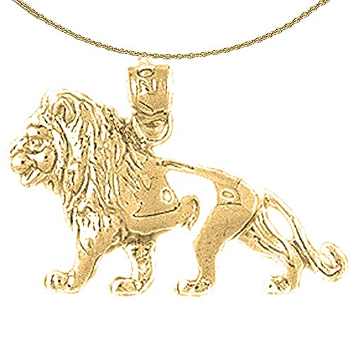 14K Yellow Gold-plated 925 Silver Lion Pendant with 18 Necklace Jewels Obsession Lion Necklace