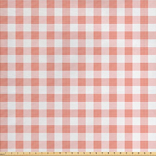 Ambesonne Checkered Fabric by the Yard, Picnic in Countryside Themed Gingham Pattern in Soft Colors Print, Decorative Fabric for Upholstery and Home Accents, Pink Pale Pink White