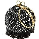 Dazzling Crystal Tassel Women Evening Bag Round Wedding Cocktail Wristlets Handbag Purse