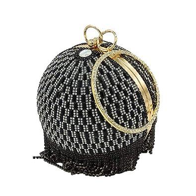Black Crystal Tassel Women Evening Purse Cocktail Party Wristlets Handbag  Purse e63778c09261