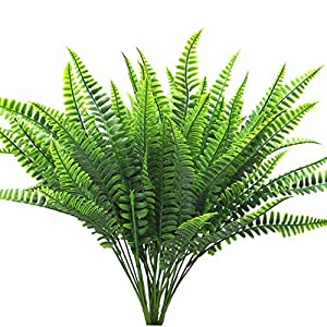 Bird Fiy 4Pcs Artificial Shrubs Boston Fern Bush Plant Greenery Bushes Fake Outdoor Plant 35