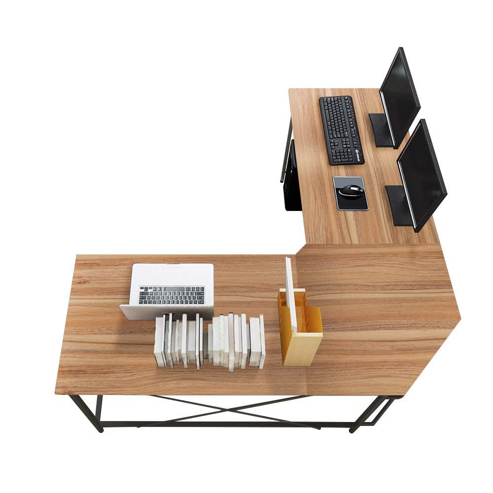 Soges 59 x 59 inches Large L-Shaped Desk Computer Desk L Desk Office Desk Workstation Desk, Oak CS-ZJ02-OK by soges