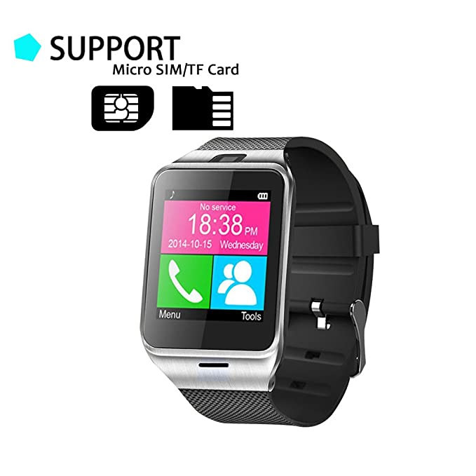 TUFEN GV18 Bluetooth Smart Watch HD Touch Screen Support Micro SIM & TF/SD Card, Answer Calls & Check Messages Notifier Pedometer and Camera for ...