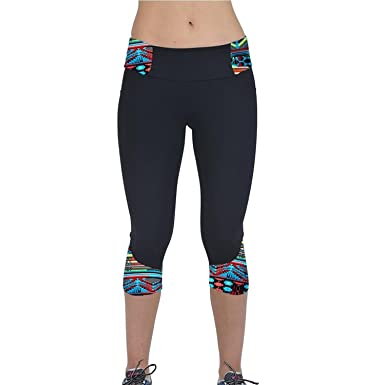 d6c2d490313b4 Printed High Waist Yoga Leggings 3/4 Length Capri by Mingfa Women Sport Gym  Pants Cropped Trousers Fitness and Training: Amazon.co.uk: Clothing