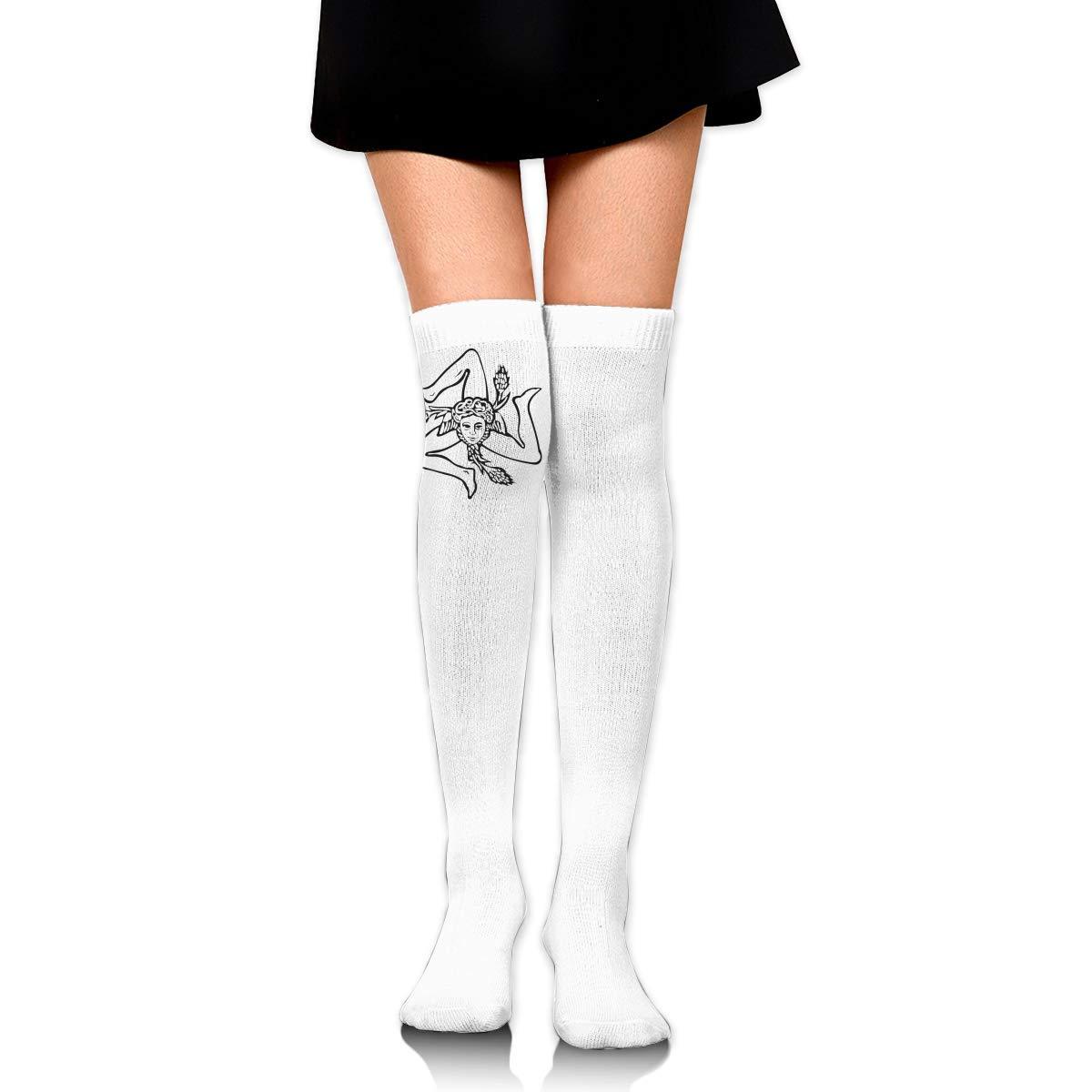 Sicilian Trinacria Logo Long Tight Thigh High Socks Over The Knee High Boot Stockings Leg Warmers