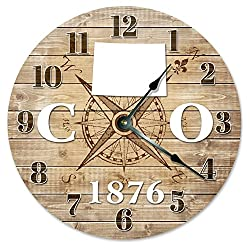 COLORADO CLOCK Established in 1876 Huge 15.5 to 16 COMPASS MAP RUSTIC STATE CLOCK Printed Wood Image