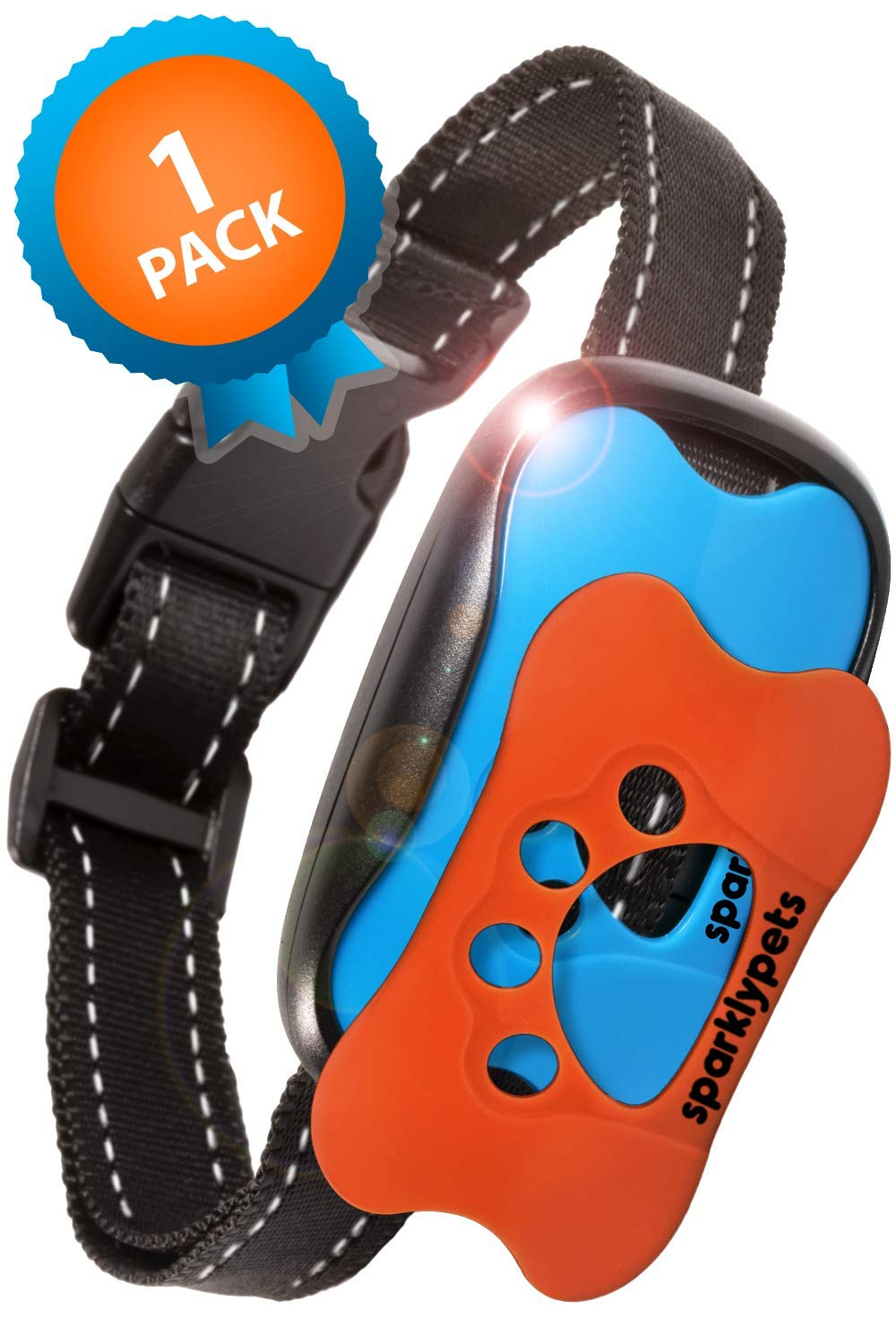 SparklyPets Humane Dog Bark Collar | Anti Barking Training Collar | Vibrating, No Shock Stop Barking for Small Medium Large Dogs | Upgraded 2019 Pet Corrector (1 Pack) by SparklyPets