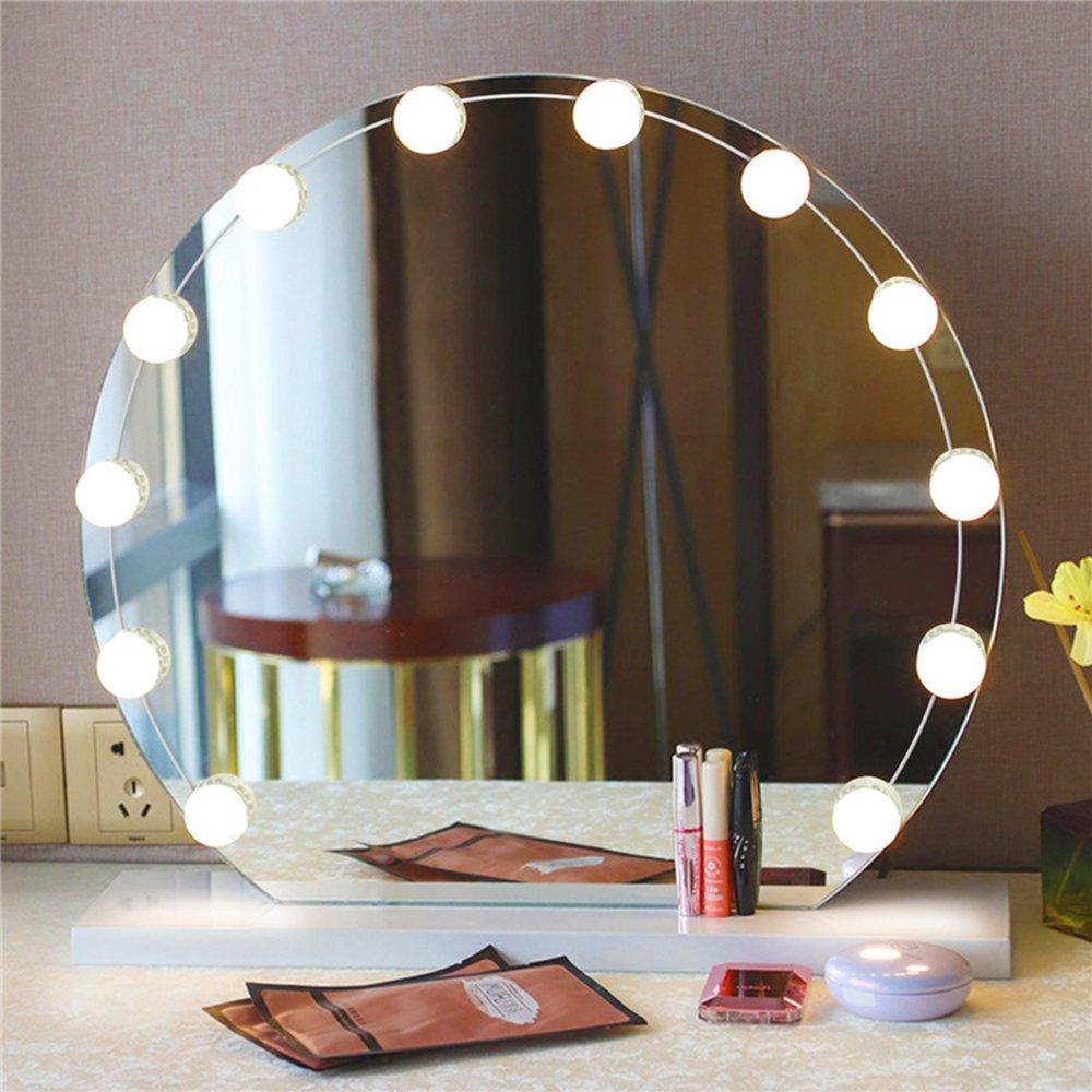 Solmore lampe pour miroir 12 ampoule led luminosit - Miroir salle de bain lumineux avec prise de courant ...