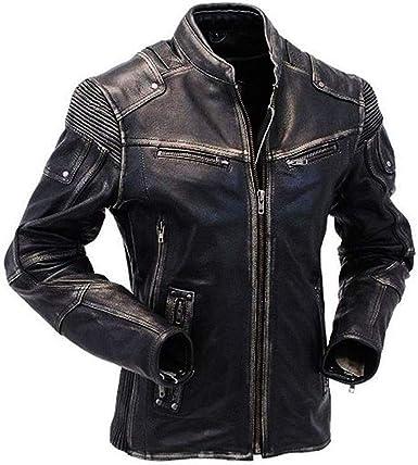 Men/'s Black Biker Quilted Vintage Motorcycle Cafe Racer Genuine Leather Jacket