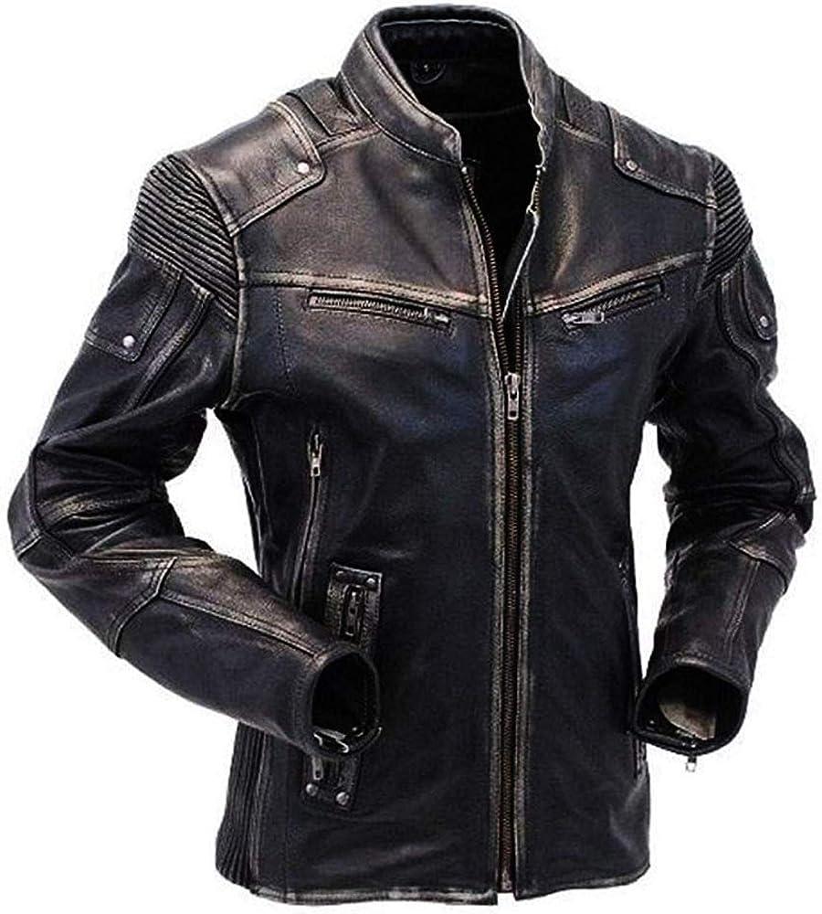 Men/'s Biker Vintage Motorcycle Cafe Racer Brown Distressed Leather Jacket Coat