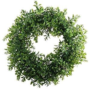 """Nahuaa Front Door Wreath, 15"""" Artificial Eucalyptus Wreath Spring Farmhouse Garland Home Office Housewarming Gift Greenery Decor 114"""