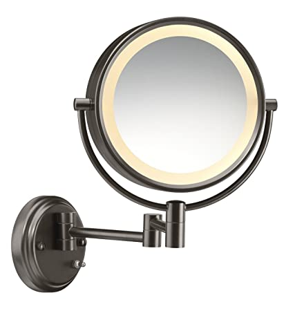 Amazon conair round shaped double sided wall mount lighted conair round shaped double sided wall mount lighted makeup mirror 1x8x magnification aloadofball Image collections