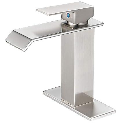 Bwe Waterfall Spout Brushed Nickel Single Handle One Hole Bathroom