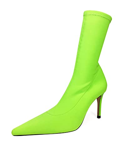 8c5952885ed2 Amazon.com  Zara Women Neon Sock-Style Heeled Ankle Boots 1170 001 ...