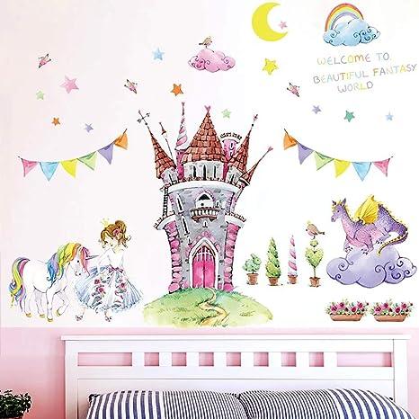 WandSticker4U- XL Aquarell Wandtattoo Kinderzimmer Prinzessin Schloss |  Wandbilder: 105x90 cm | Wandsticker Einhorn Pferd Wand-Aufkleber Sterne ...