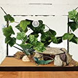 Bwogue Artificial Reptile Plants with Sunction Cups - Green Terrarium Fake Plastic Plants by 7.5ft - Creates Natural Hiding Spot for Reptiles and Amphibians