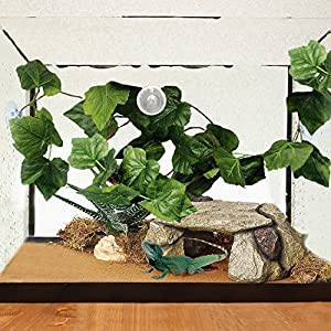 BWOGUE Artificial Reptile Plants with Sunction Cups - Green Terrarium Fake Plastic Plants by 7.5ft - Creates Natural Hiding Spot for Reptiles and Amphibians 106