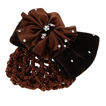 Damen Schleife Haarclip mit Duttnetz Haarnetz Haarspange Haarklammer