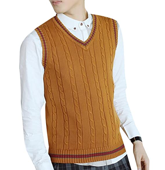 Ouxiuli Men Slim V Neck Sleeveless Knit Cable Sweater Vests Tops At