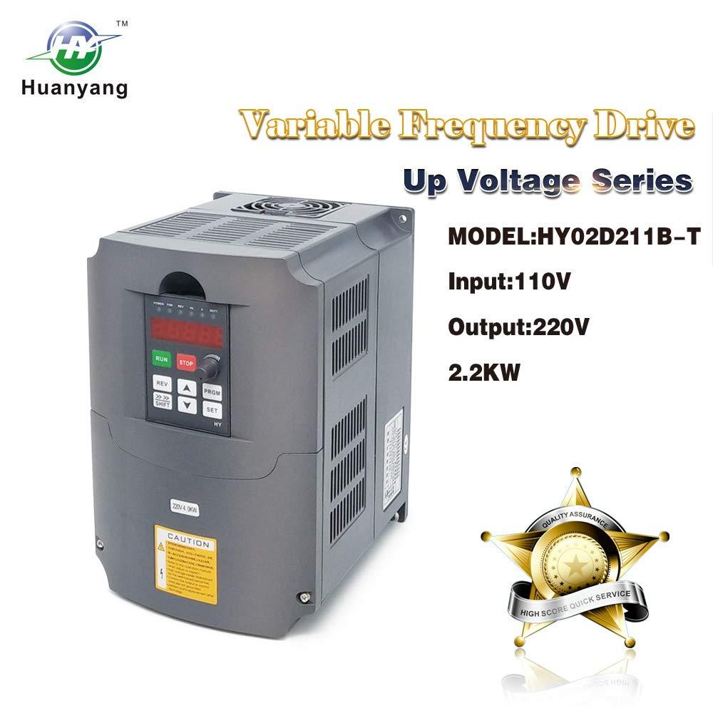 Huanyang CNC VFD Variable Frequenc Drive Controller 110v Input 220v Output 2.2kw 3hp Inverter for Motor Speed Control
