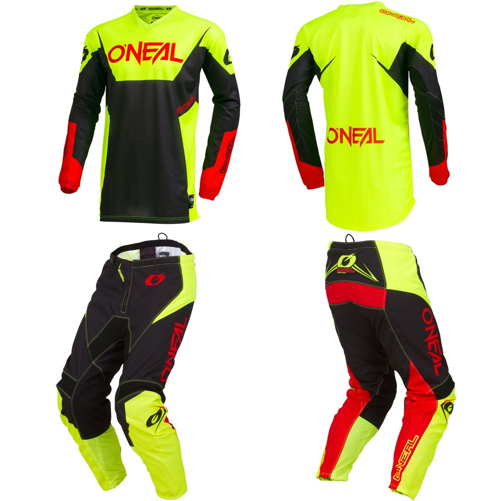 O'Neal Element Racewear Neon Yellow Adult motocross MX off-road dirt bike Jersey Pants combo riding gear set (Pants W32/Jersey Large)