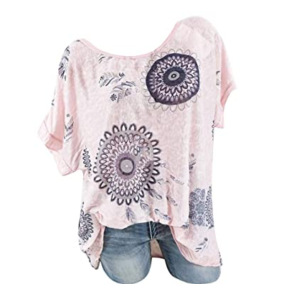 Xinantime Women Blouse Print Short Sleeve Casual T Shirts Crewneck Loose Soft Tops Tunic Tanks: Clothing