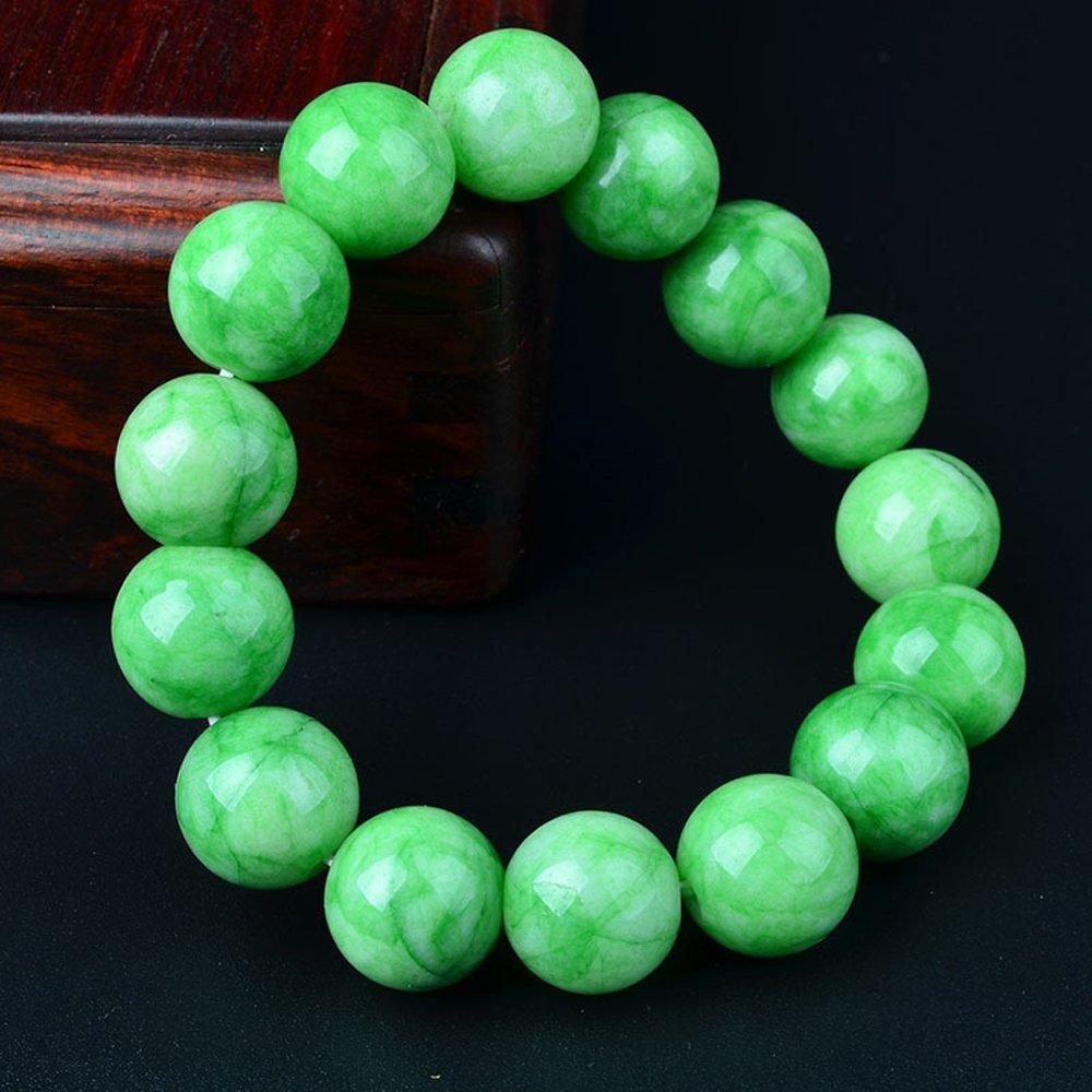 Gorgeous Jewelry Religious Unisex Cold Jade Distinctive Elastic Buddha Beads Bracelet