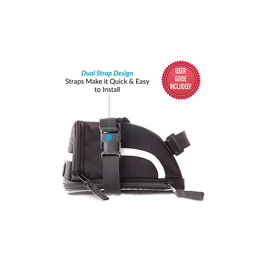 Saddle Bag Small Plus   Bike Bag for Bicycle Accessories and Tools   Quick Install Due To 2 Individual Clips   Check Sizing   Main Compartment Fitted with Zip Extension   Pre Ride Checklist Included