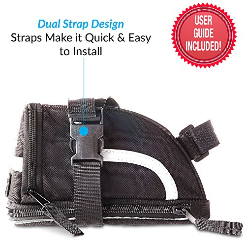 Saddle Bag Small Plus | Bike Bag for Bicycle Accessories and Tools | Quick Install Due To 2 Individual Clips | Check Sizing | Main Compartment Fitted with Zip Extension | Pre Ride Checklist Included