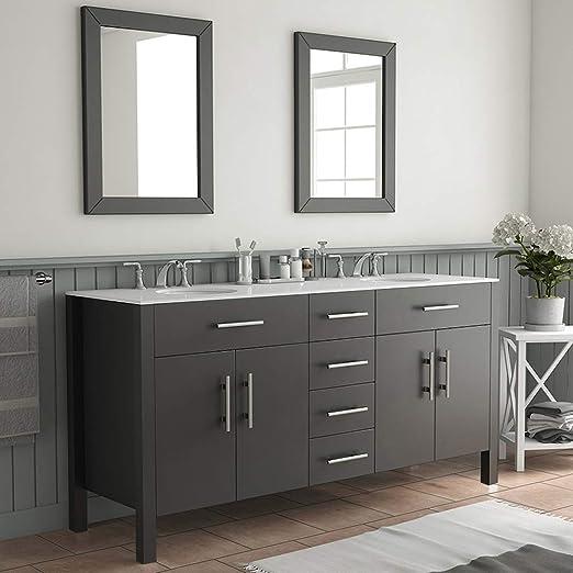 Amazon.com: 72 Inch Espresso Double Basin Sink Bathroom Vanity Set- Warren:  Home & Kitchen