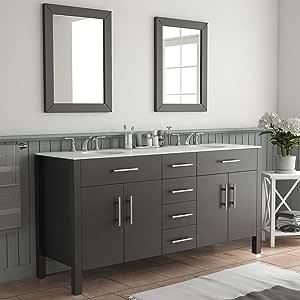 Amazon Com 72 Inch Espresso Double Basin Sink Bathroom Vanity Set Warren Tools Home Improvement