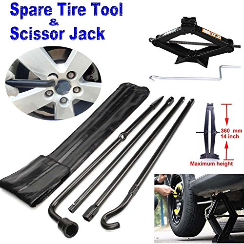 For 2004-14 Ford F150 Spare Tire Tool Kit Lug Wrench with 2 Tonne Leveling Scissor Jack 90-360MM