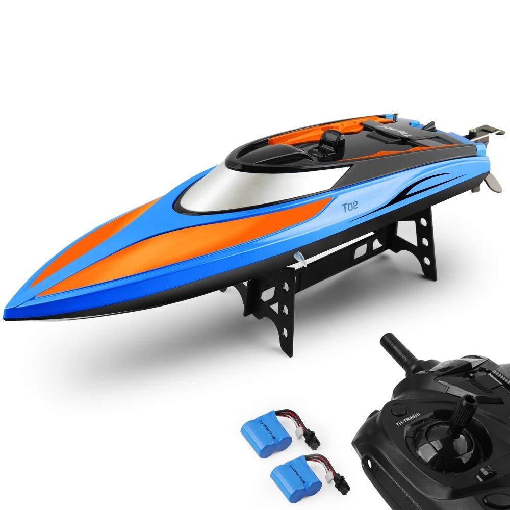GizmoVine RC Boot High Speed Boot 2, 4 GHz 20MPH mit Kapsel Standard Funktion Fernbedienung Spielzeug für Jungen mit Extra Batterie (Blau Orange)