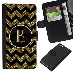 EJOY---La carpeta del tirón la caja de cuero de alta calidad de la PU Caso protector / Apple Iphone 5C / --Iniciales patrón de la letra del oro Chevron Rey
