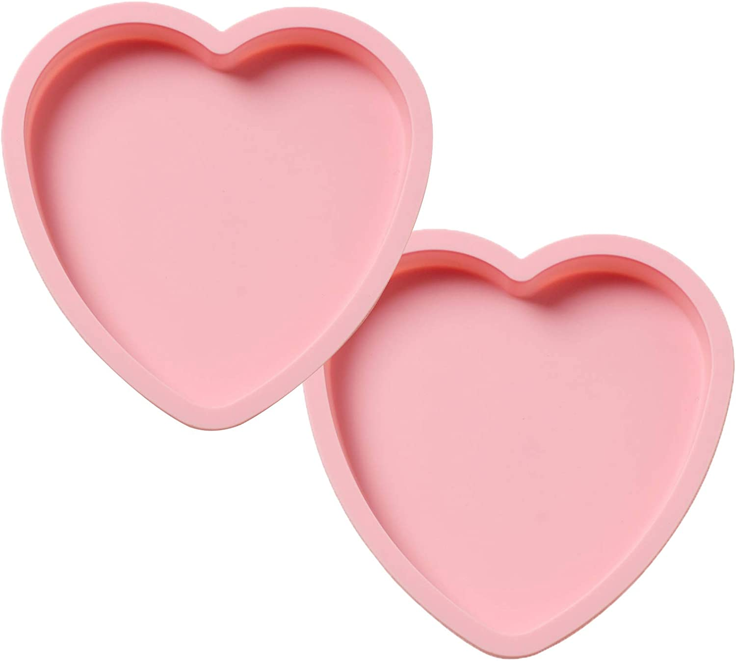 Heart Mold-2 Pcs Silicone Mold For Making Chocolate, Cake,Jelly, Pudding, Mousse, Candies, Muffin, Dessert, Ice Cubes,Soap, Easy Release, Reusable and Non-Stick, Heart Love Shape