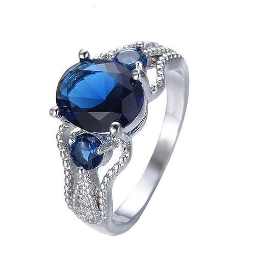 Amazon.com: F&F Joyería Anillo de boda de zafiro azul ...